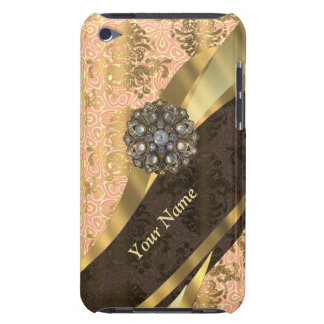 Personalized coral vintage damask pattern iPod Case-Mate case