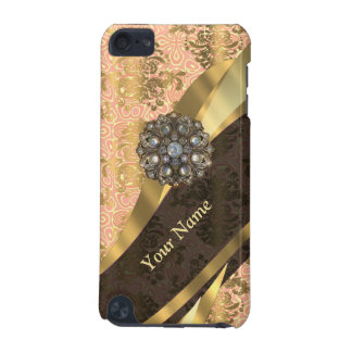 Personalized coral vintage damask pattern iPod touch 5G cover