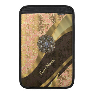 Personalized coral vintage damask pattern MacBook sleeve