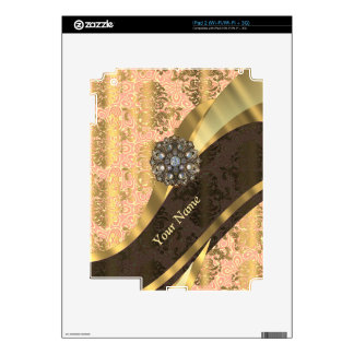 Personalized coral vintage damask pattern decals for the iPad 2