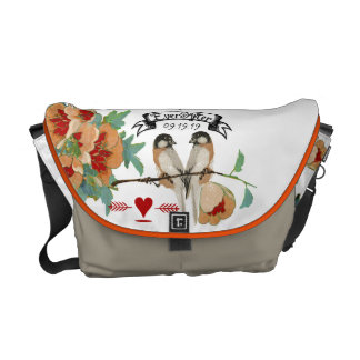 Personalized Coral Vintage Modern Love Birds Courier Bag