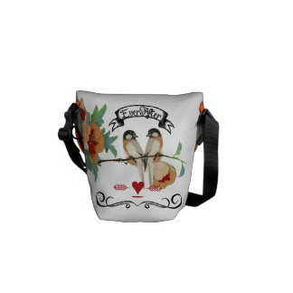 Personalized Coral Vintage Modern Love Birds Courier Bags