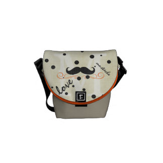 Personalized Coral Vintage Modern Mustache Courier Bag