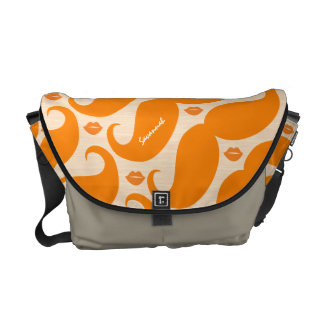 Personalized Coral Vintage Modern Mustache  Lips Messenger Bag