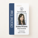 """Personalized Corporate Employee ID Badge Blue<br><div class=""""desc"""">Easily personalize this professional employee photo ID badge with your custom details.</div>"""