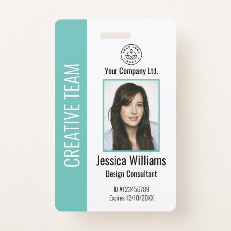 Personalized Corporate Employee ID Badge Teal