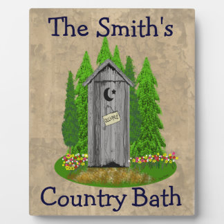 Personalized Country Bath Outhouse Bathroom Plaque