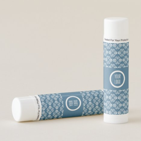 Personalized country blue damask pattern lip balm