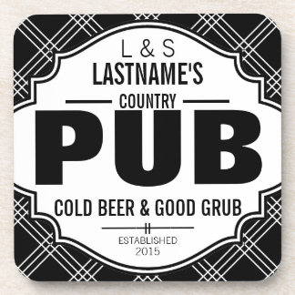 Personalized Country Pub Beer and Grub Drink Coaster
