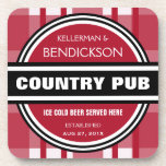 """Personalized Country Pub Beer Sign Beverage Coaster<br><div class=""""desc"""">This funny bar sign style coaster set is perfect for the home brewing couple, beer lovers, or anyone who has their own home bar set up and barbecue! The perfect gift for the newlywed or anniversary couple, this design features an established date where you can add their wedding date! This...</div>"""