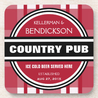 Personalized Country Pub Beer Sign Beverage Coaster