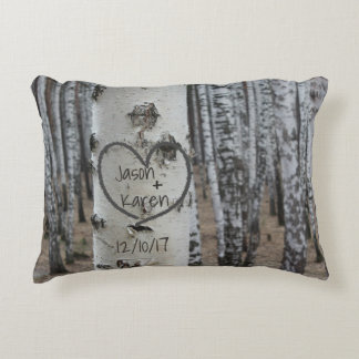 Personalized Country Rustic Carved Heart Decorative Pillow