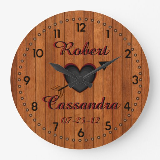 Personalized Country Style Faux-Wood Wall Clock | Zazzle