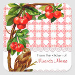 Personalized Country Vintage Bird and Cherries Square Sticker
