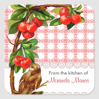 Personalized Country Vintage Bird and Cherries Stickers