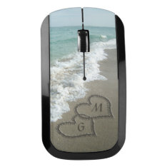 Personalized Couple Initials Monogram Hearts Beach Wireless Mouse at Zazzle