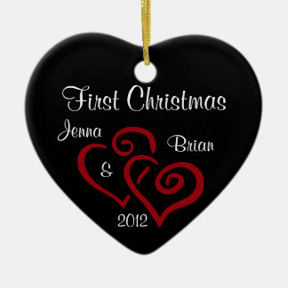 Personalized Couple's First Christmas Ornament Ceramic Heart Ornament