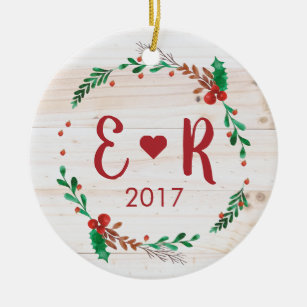 Couple Initials Christmas Ornaments Zazzle 100 Satisfaction Guaranteed