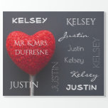 "Personalized Couple's Name Wrapping Paper<br><div class=""desc"">Add a personal touch to your gift giving.  A fun and elegant gift wrap with a bright red heart shaped candy lollipop and first & last name personalization. Would be great for holidays,  anniversary,  housewarming or weddings.</div>"
