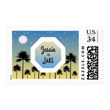 Beach Themed Personalized Couple's Names Post Stamps