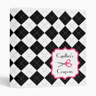 Personalized Coupon Organizer - Argyle & Pink Binder
