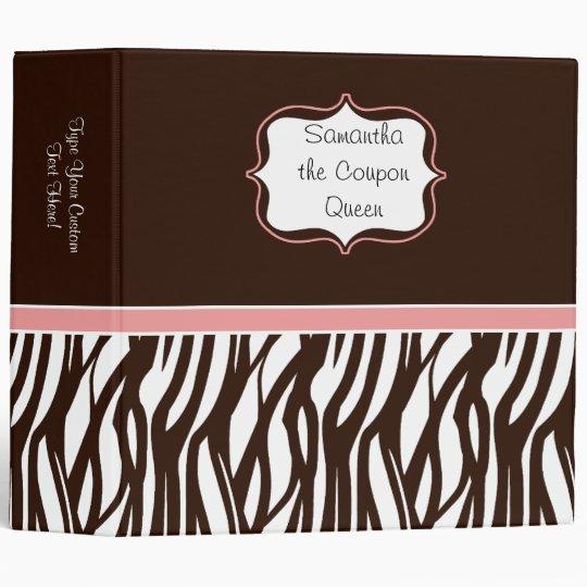 Personalized Coupon Organizer, Brown/Pink Zebra Binder