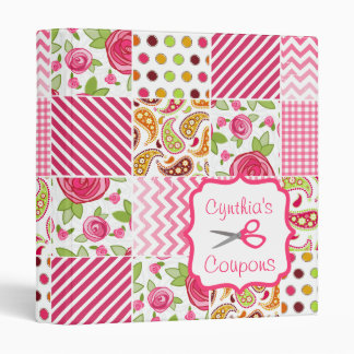 Personalized Coupon Organizer - Girly Patchwork Binder