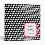Personalized Coupon Organizer - Houndstooth & Pink 3 Ring Binders