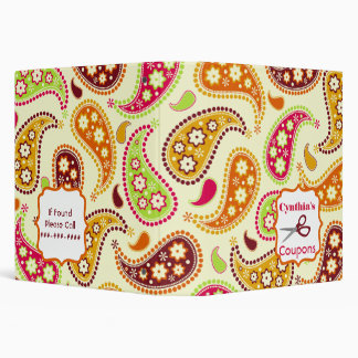 Personalized Coupon Organizer - Multicolor Paisley Binders