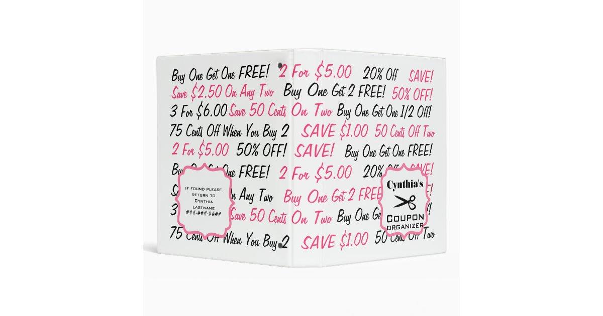 c112abed103 Personalized Coupon Organizer - Pink   Black Binder