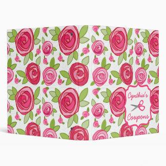 Personalized Coupon Organizer - Pink Roses 3 Ring Binder