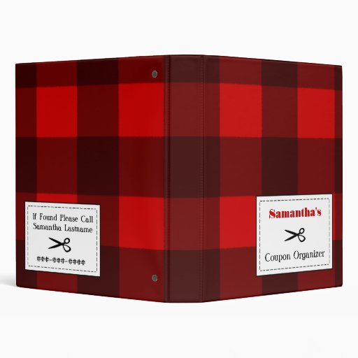 Personalized Coupon Organizer - Red & Black Plaid Binder