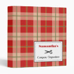 Personalized Coupon Organizer - Red Plaid Vinyl Binder