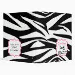 Personalized Coupon Organizer - Zebra Print & Pink 3 Ring Binders
