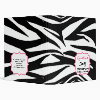 Personalized Coupon Organizer - Zebra Print & Pink Binder