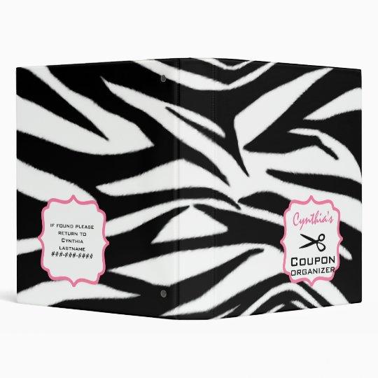 Personalized Coupon Organizer - Zebra Print & Pink Binder