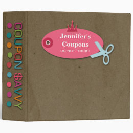 Personalized coupon savvy fun 2 inch avery binder