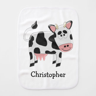 Personalized Cow Design Burp Cloth