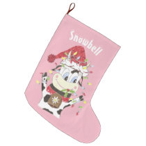 Personalized cow pink Christmas stocking