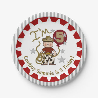 Personalized Cowboy 5th Birthday Paper Plates