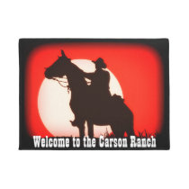 Personalized Cowboy and Horse at Sunset Doormat