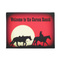 Personalized Cowboy and Horses at Sundown Doormat