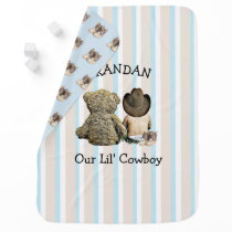 Personalized Cowboy and Teddy Bear Baby Blanket