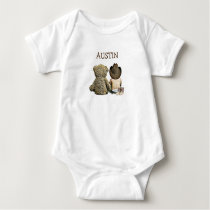 Personalized Cowboy and Teddy Bear Baby One Piece Baby Bodysuit