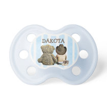 Personalized Cowboy and Teddy Bear Baby Pacifier