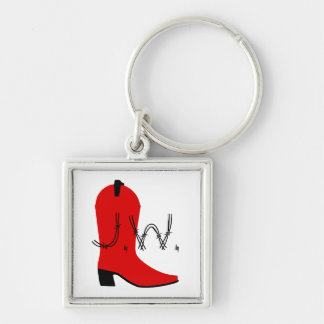 Personalized Cowboy Boot Silhouette Keychain