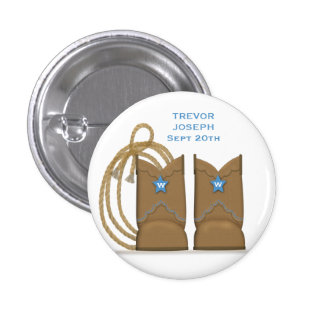 Personalized Cowboy Boots Pinback Button