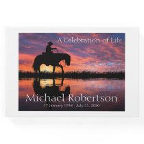 Personalized Cowboy on Horse Celebration of Life Guest Book