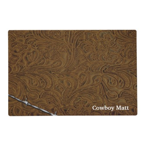 Personalized Cowboy Rustic Leather Look Placemat