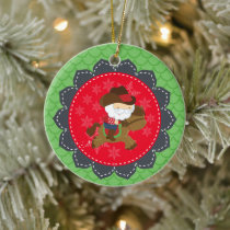 Personalized Cowboy Santa Riding Horse Christmas Ceramic Ornament